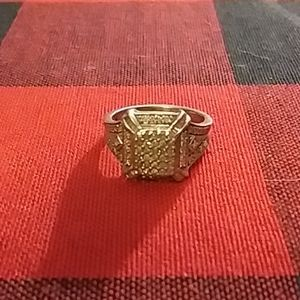 Sterling Silver REAL Diamond 7.25 Engagement ring